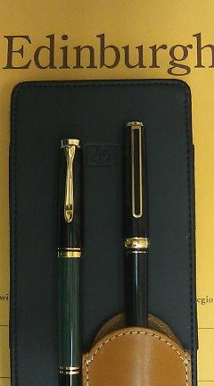今日の2本 / プラチナ 22K と ペリカン スーベレーン M400 緑縞
