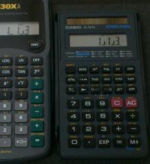 標準入力タイプの関数電卓世界統一戦 / TI-30XA ,CASIO fx-260A,SHARP EL-501E ,Canon F-604