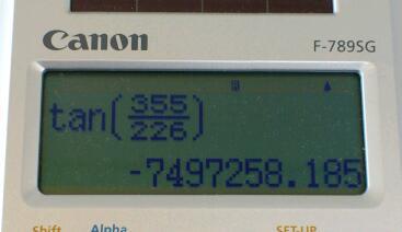 tan ( 355 / 226 ) 考 その1 / 関数電卓で tan ( 355 / 226 ) を考える
